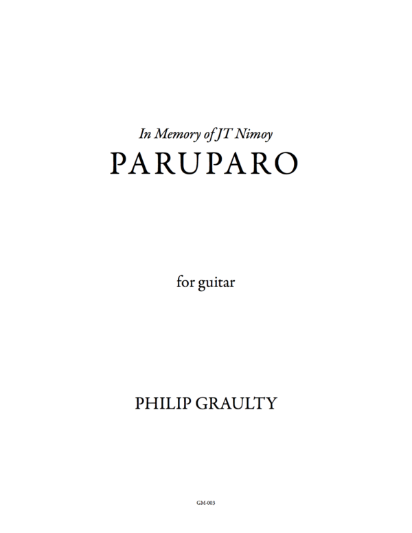 The title page to the score of Paruparo.